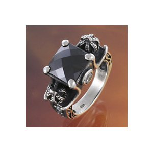 【セール】シルバーアクセサリー シルバーリング 指輪メンズ 王冠・クラウンリング 指輪シルバー925リング ブラックジルコニア|e-standard