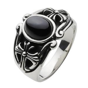 シルバーアクセサリー シルバーリング 指輪メンズ シルバー925リング クロス ブラックスター 男性用|e-standard