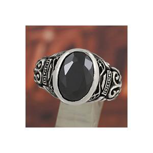 シルバーアクセサリー シルバーリング 指輪メンズ ブラックジルコニア シルバー925リング 男性用 クリスマス プレゼント|e-standard