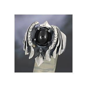 シルバーアクセサリー シルバーリング 指輪メンズ 悪魔 デビル ブラックスター シルバー925リング 男性用|e-standard