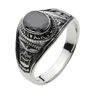 シルバーアクセ リング 指輪メンズ シルバーカレッジリング シルバー925リング ブラックジルコニア|e-standard