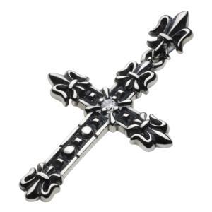 シルバーアクセサリー シルバーペンダント メンズ ゴシッククロスペンダント 百合の紋章 シルバー925ペンダントトップ|e-standard