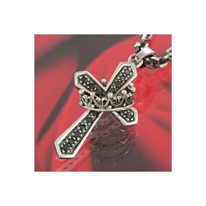シルバーアクセサリー シルバークロスペンダント メンズ 王冠・クラウン シルバー925ペンダントトップ ブラックジルコニア e-standard