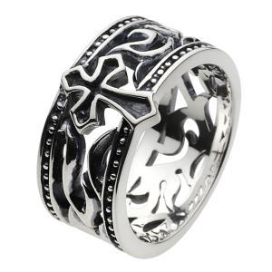 シルバーアクセサリー クロスシルバーリング 指輪メンズ クロスリング フレア 炎 指輪シルバー925リング 男性用|e-standard