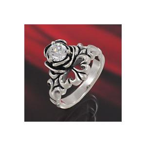 シルバーアクセサリー シルバーアクセ シルバーリング レディース 女性用 指輪 ジルコニア バラ ユリ|e-standard
