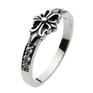 シルバーアクセサリー シルバーアクセ シルバーリング レディース 女性用 指輪 ユリの紋章 クロス ジルコニア|e-standard