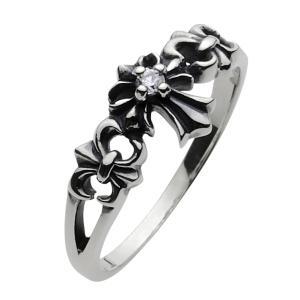 シルバーアクセサリー シルバーリング レディース 女性用 指輪 クロスリング ジルコニア ピンキーリング|e-standard