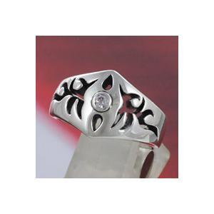 シルバーアクセサリー シルバーリング(指輪) キッズ用 ジルコニア ピンキーリング トライバル|e-standard
