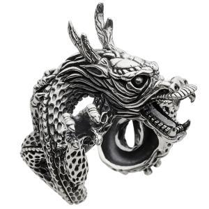 シルバーリング ドラゴン 龍 竜 指輪 メンズ フリーサイズ シルバー925 e-standard