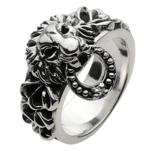 指輪 メンズ シルバーリング ライオン 獅子 ハード シルバー925 e-standard