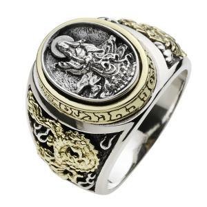 シルバーリング 指輪 メンズリング 観音菩薩 和風 輪柄 ドラゴン 龍 竜 シルバー925 クリスマス プレゼント|e-standard