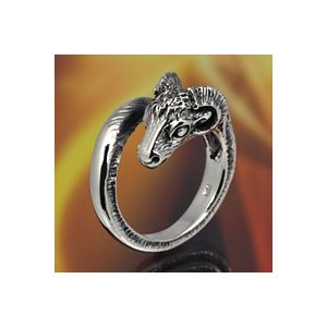 シルバーリング 指輪 メンズ ヤギ 山羊 フリーサイズリング シルバー925 e-standard
