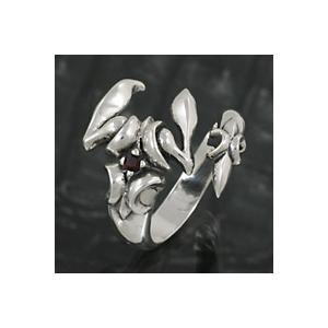 シルバーリング 指輪 メンズ スコーピオン サソリ さそり 蠍 シルバー925 ガーネット|e-standard