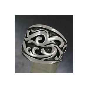 シルバーリング 指輪 メンズ シルバー925 波模様 ハード シルバーアクセサリー e-standard