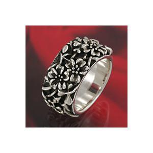シルバーリング 和風 和柄 指輪 メンズ 花柄 シルバー925 シルバーアクセサリー|e-standard