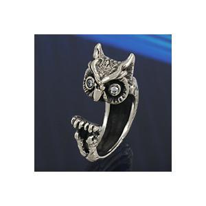 シルバーリング 指輪 メンズ 梟 ふくろう フクロウ 鳥 フリーサイズ シルバー925|e-standard