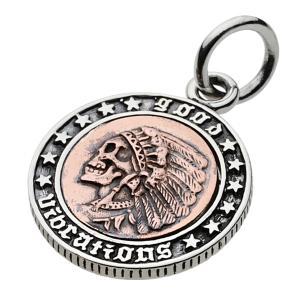 【FIGMART】スカル インディアン コイン シルバー925 ペンダント メンズ【シルバーペンダント シルバーアクセサリー】fp0418|e-standard