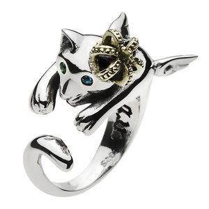シルバーリング 指輪 ネコ ねこ 猫グッズ キャット ピンキーリング シルバー925|e-standard