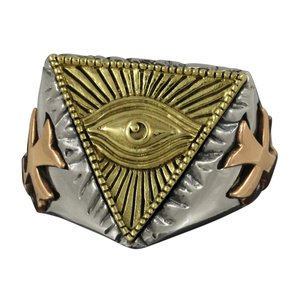 指輪 シルバー925 プロビデンスの目 フリーメイソン メンズ フリーサイズ|e-standard