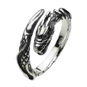 シルバーリング ピンキーリング 指輪 メンズ 龍・竜 ドラゴン リング フリーサイズ シルバー925|e-standard