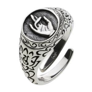 【限定タイムセール 1月26日まで】シルバーリング 指輪 メンズ 弥勒菩薩 和風 和柄 唐草模様 仏教 シルバー925 フリーサイズ|e-standard
