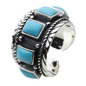 シルバーリング ターコイズリング 指輪 メンズ フリーサイズ ネイティブ|e-standard