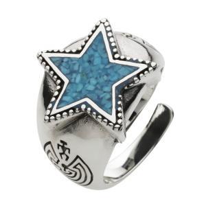 シルバーリング ターコイズ 指輪 メンズ スター 星 ネイティブ シルバー925|e-standard