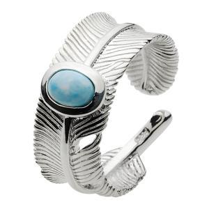 シルバーアクセサリー シルバーリング 指輪メンズ ラリマー フェザーリング フリーサイズ シルバー925リング インディアン e-standard