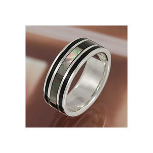 シルバーリング ブラックシェル 指輪メンズ