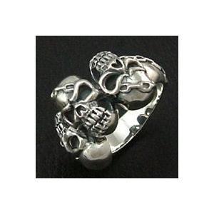 シルバーリング 指輪メンズ 三連スカルリング シルバー925 ドクロ|e-standard