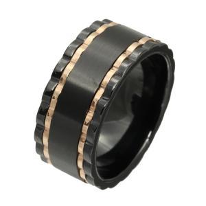 ステンレス 指輪 ステンレスリング メンズ ツートンカラー ブラック e-standard