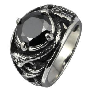 スレンレスリング メンズ 指輪 スネーク 蛇 ブラックジルコニア|e-standard