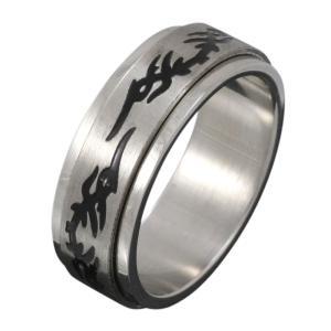 ステンレスアクセサリー トライバルリング 回転ギミック 男性用指輪|e-standard