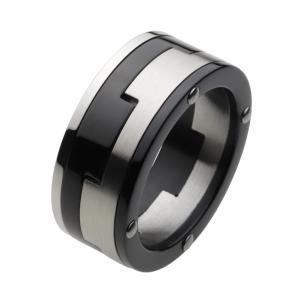 ステンレスリング メンズ 指輪 メカニカルデザイン ツートンカラー|e-standard