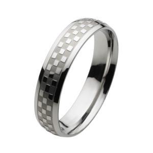 ステンレスリング メンズ 指輪 チェック柄 チェッカー シンプル|e-standard