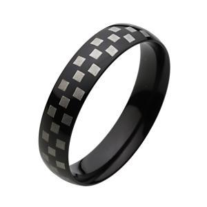ステンレスリング メンズ 指輪 チェック柄 ツートンカラー ブラック|e-standard