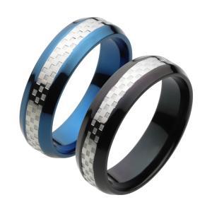 ステンレスアクセサリー ステンレスリング 指輪 ブルー ブラック チェッカー|e-standard