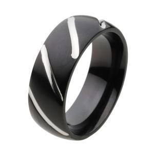ステンレス 指輪 ステンレスリング メンズ ブラックカラー ラインデザイン|e-standard