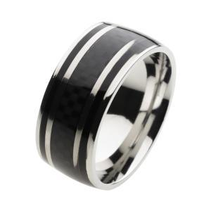 ステンレス 指輪 ステンレスリング メンズ カーボン調デザイン ブラック e-standard