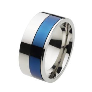 ステンレス 指輪 ステンレスリング メンズ ツートンカラー ブルー 青|e-standard