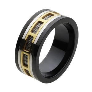ステンレス 指輪 ステンレスリング メンズ ゴールドカラー ワイヤー メカニカル シルバー ブラック|e-standard