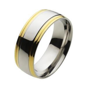 ステンレスリング 指輪 メンズ シンプル ゴールドカラー|e-standard