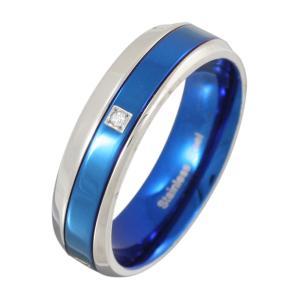 ステンレスアクセサリー ステンレスリング 指輪 メッセージ ブルー|e-standard
