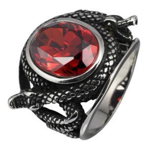 ステンレスリング 指輪 メンズ ヘビ 蛇 スネークリング レッドジルコニア|e-standard