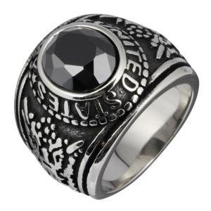 カレッジリング 指輪 ステンレス メンズリング ブラックジルコニア|e-standard