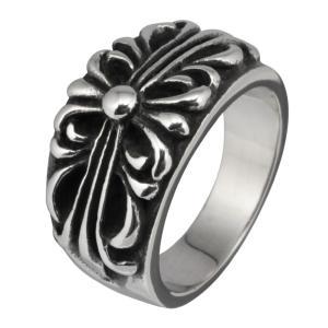 スレンレスリング 指輪 メンズ フローラルクロス 十字架 ゆりの紋章|e-standard