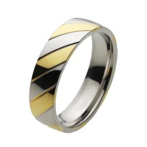 ステンレスリング 指輪 メンズ ゴールドカラー ツートン|e-standard