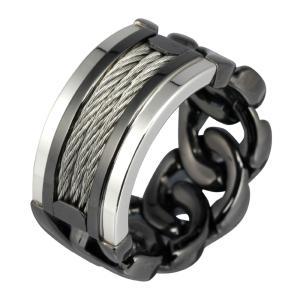 ステンレスリング 指輪 メンズリング チェーン ワイヤー ブラックカラー|e-standard