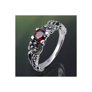 指輪 シルバー925 メンズ ピンキーリング レッドジルコニア フラワー 花|e-standard