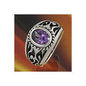 シルバーリング ストーン パープル・紫 メンズ指輪|e-standard